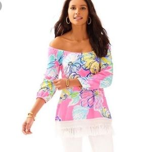 Lilly Pulitzer Alia Over the Shoulder Tassel Top